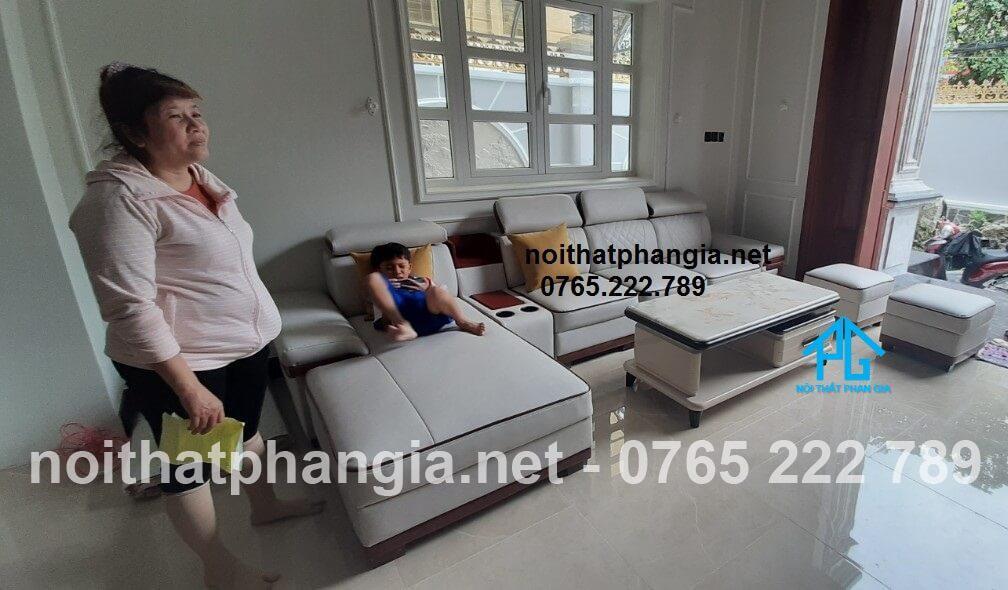 sofa góc L tân cổ điển nhà ống;