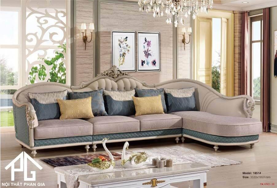 sofa góc L tân cổ điển nhà ống