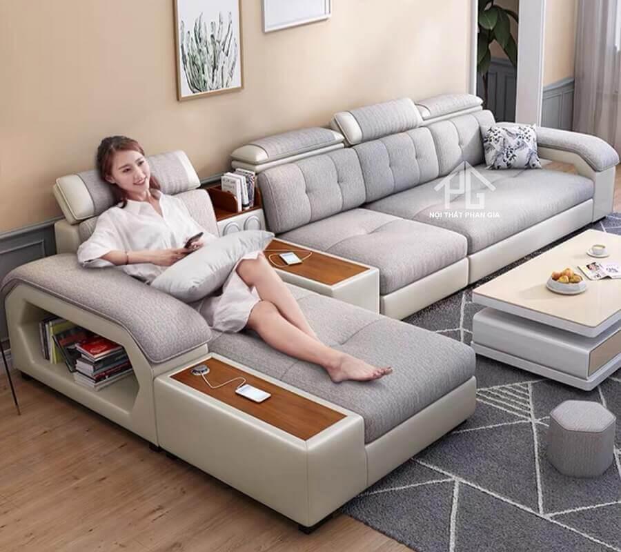sofa góc vải giả da