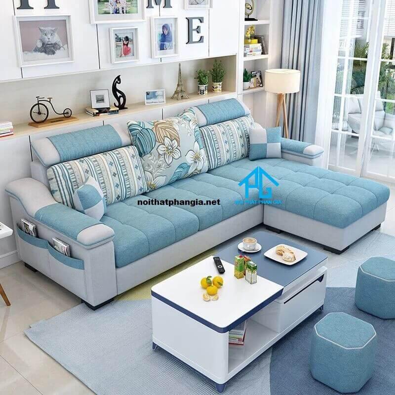 sofa vải giả da hiện đại
