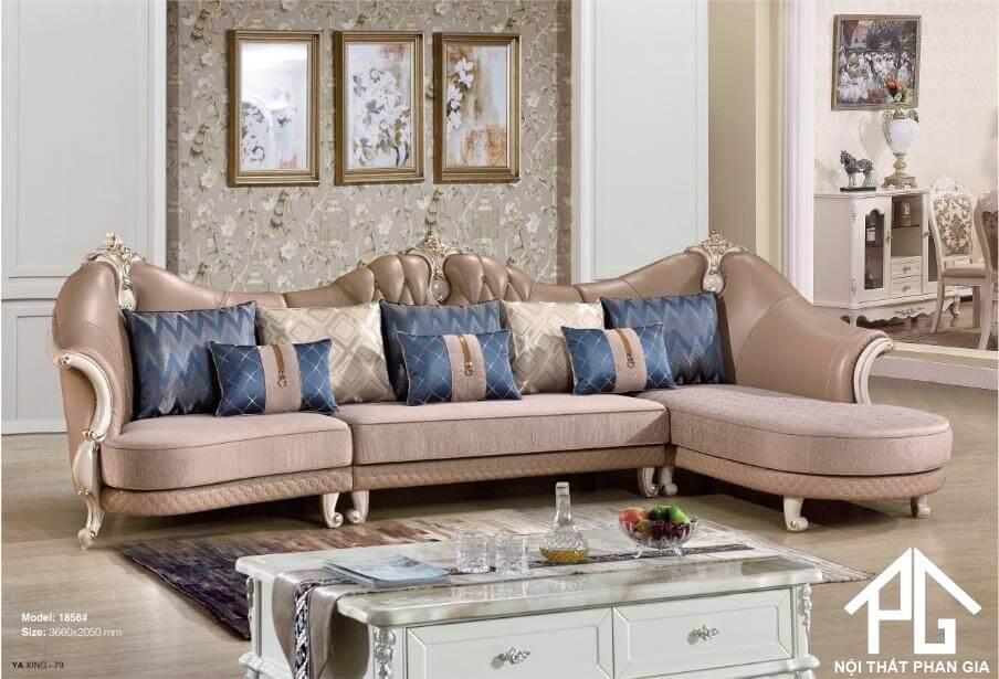 sofa vải giả da tân cổ điển