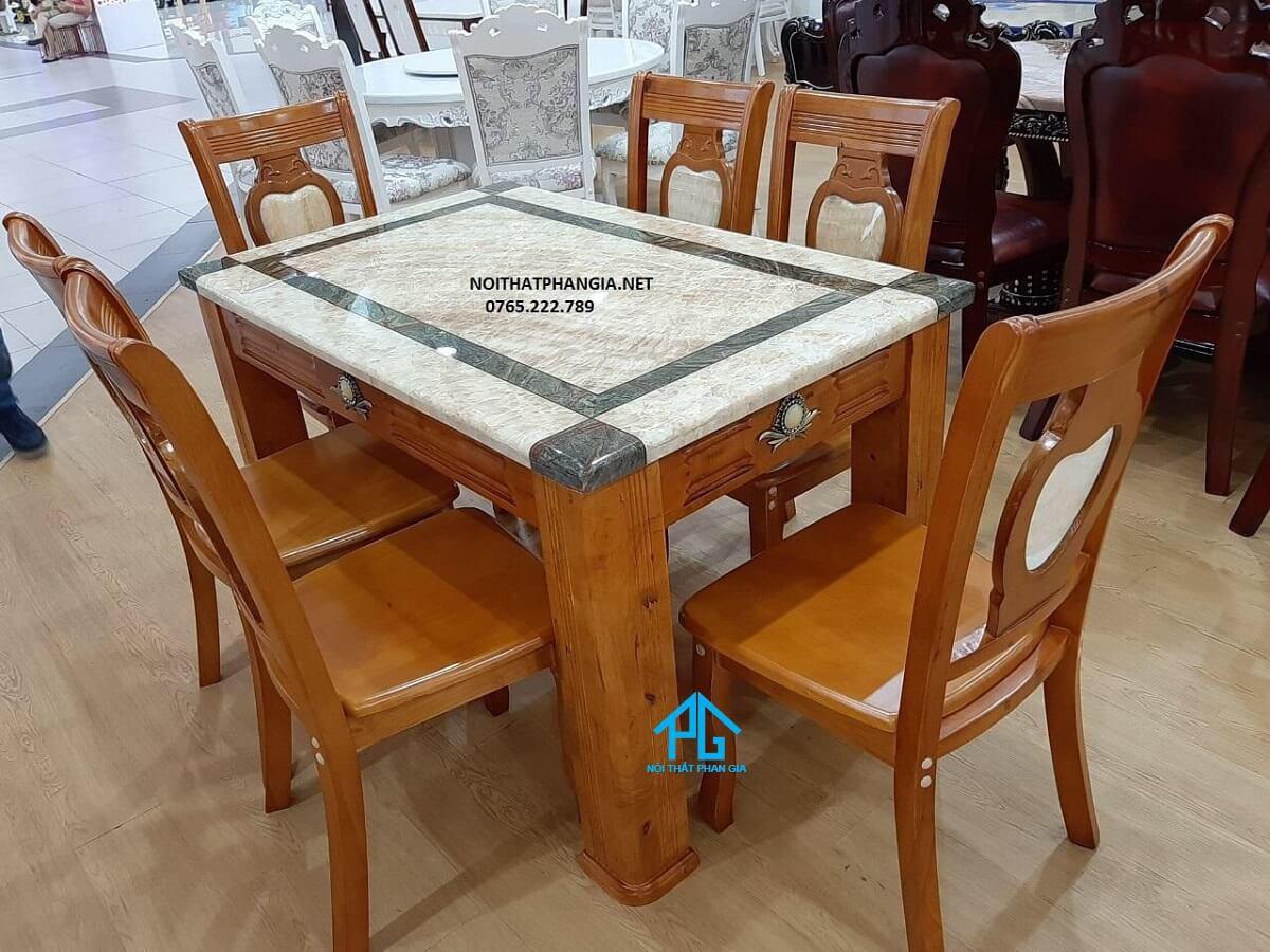 khuyến mãi bàn ăn nhập khẩu chữ nhật 6 ghế tphcm