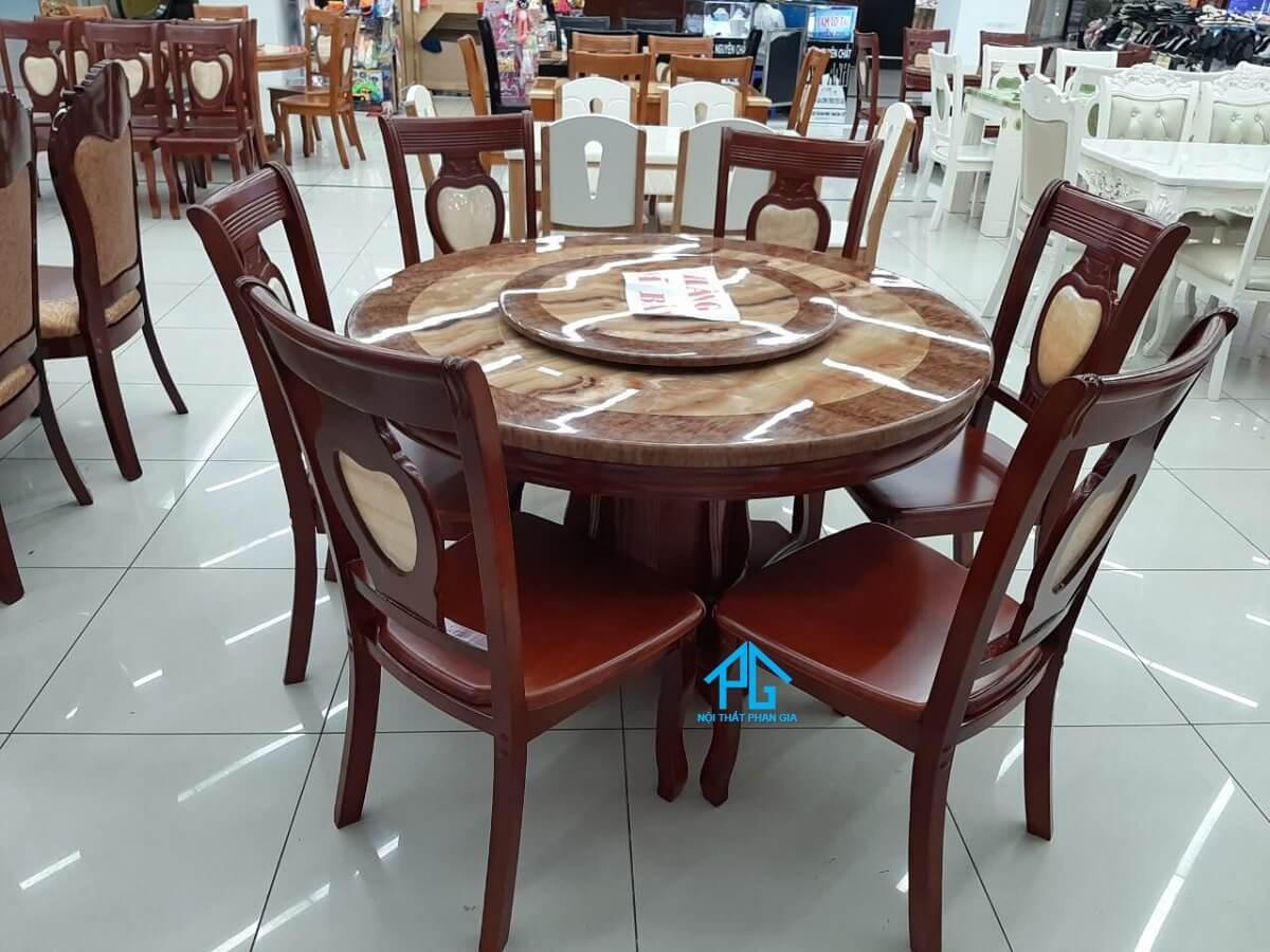 mua bàn ăn nhập khẩu tròn 6 ghế tphcm