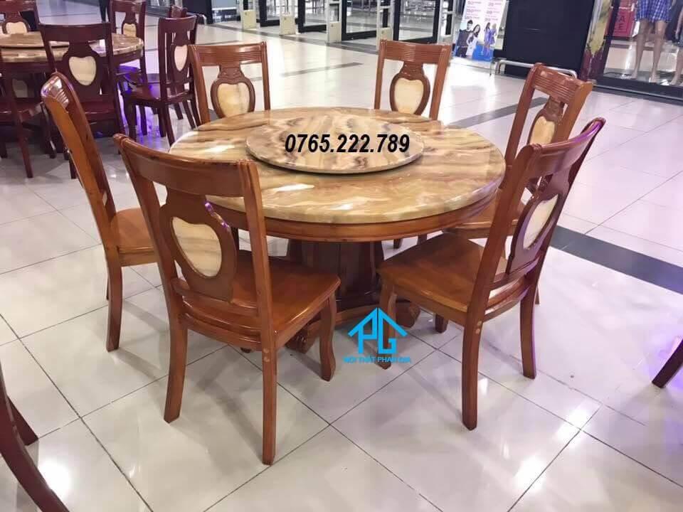top bàn ăn nhập khẩu gỗ tự nhiên tphcm