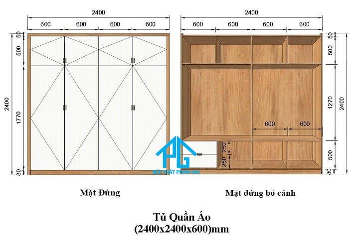 kích thước tủ áo 4 cạnh