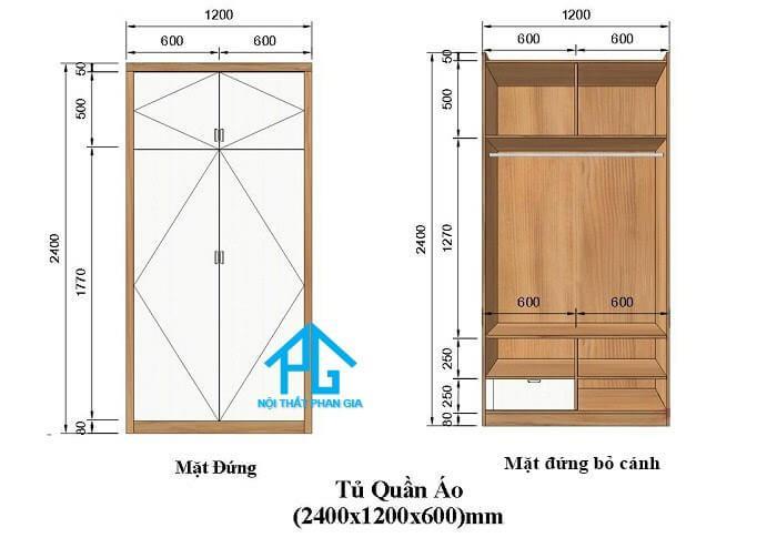 tiêu chuẩn kích thước tủ đúng chuẩn áo loại 2 cánh