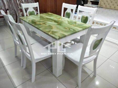 bàn ăn 6 ghế ba16 xanh ngọc