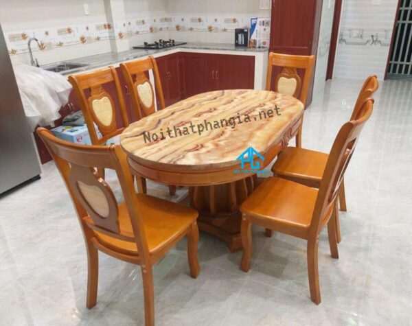 bàn ăn 6 ghế nhập khẩu đài loan 6 ghế oval 565