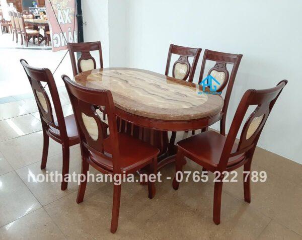 bàn ăn 6 ghế nhập khẩu 0val 565