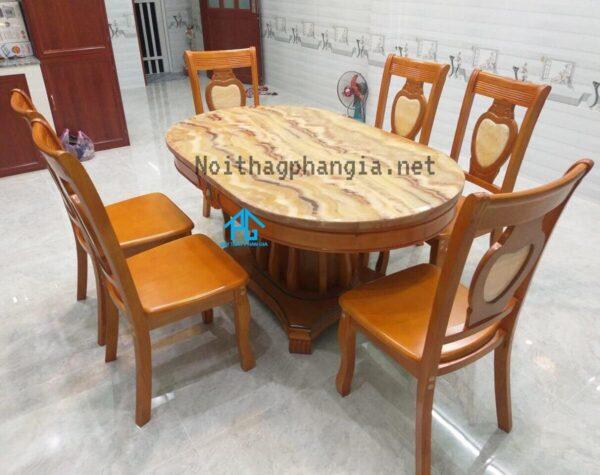bàn ăn nhập khẩu 6 ghế oval 565