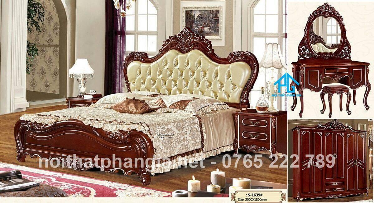 bộ giường tủ phòng ngủ tân cổ điển;