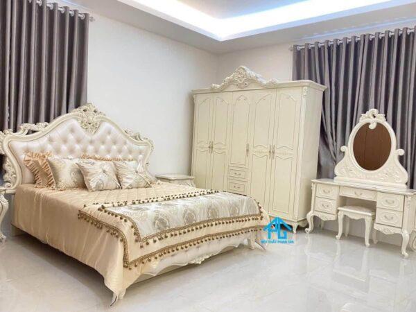 giường tủ gỗ công nghiệp tân cổ điển AB7878