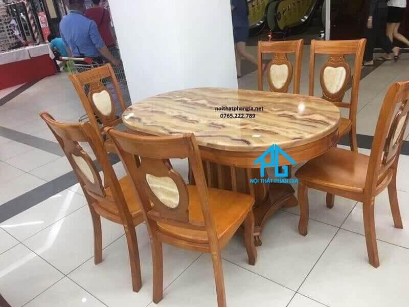 kích thước bàn ăn 6 ghế oval