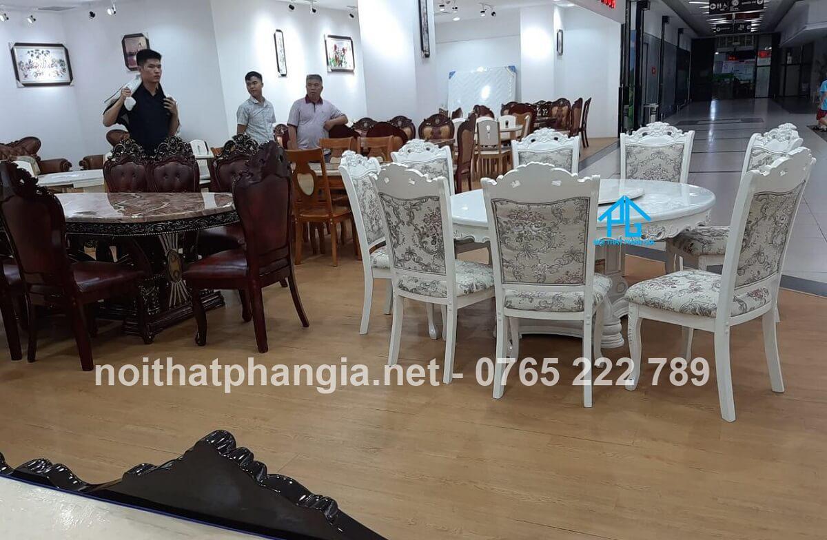 kích thước bàn ghế ăn 8 người tròn