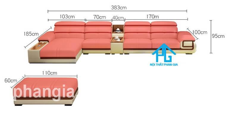 kích thước ghế sofa da E226