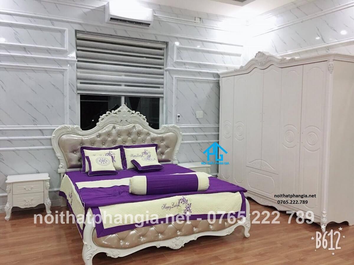 mẫu giường tủ tân cổ điển đẹp;