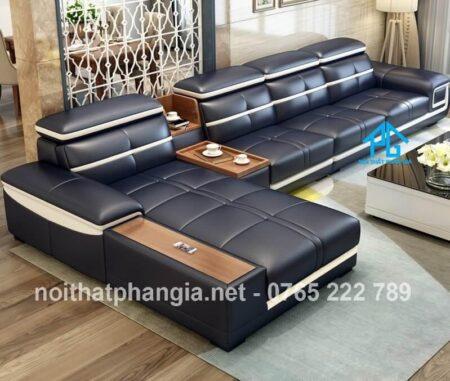 sofa da hiện đại E226 đen