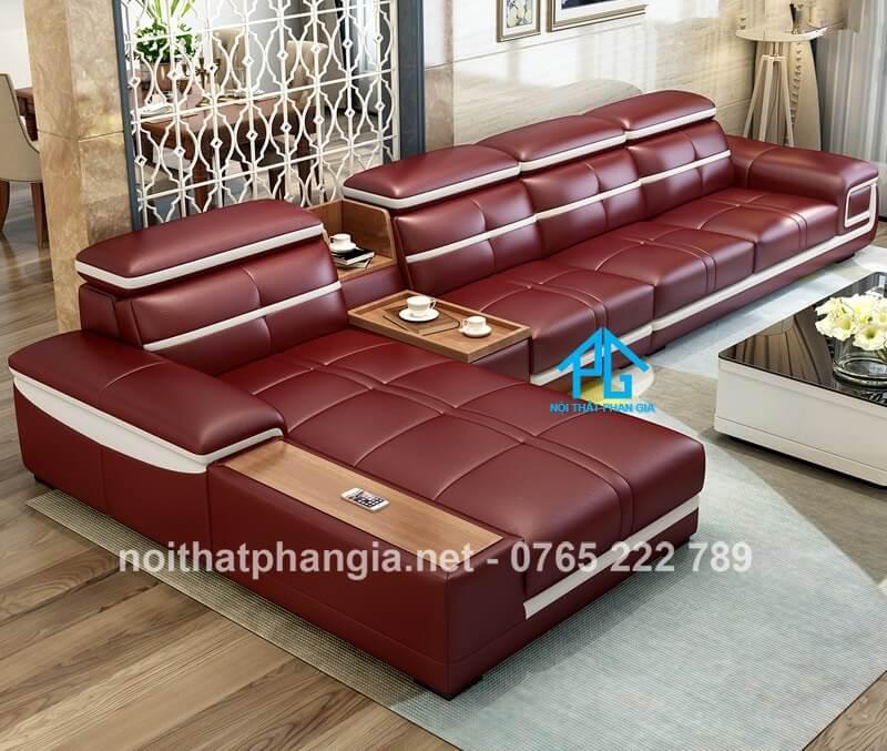 sofa da hiện đại E226 đỏ