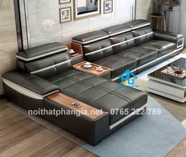 sofa da hiện đại E226 tím đen