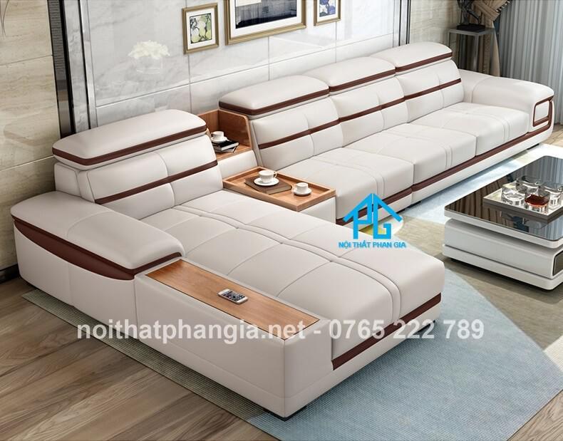 sofa da hiện đại E226 trắng xám