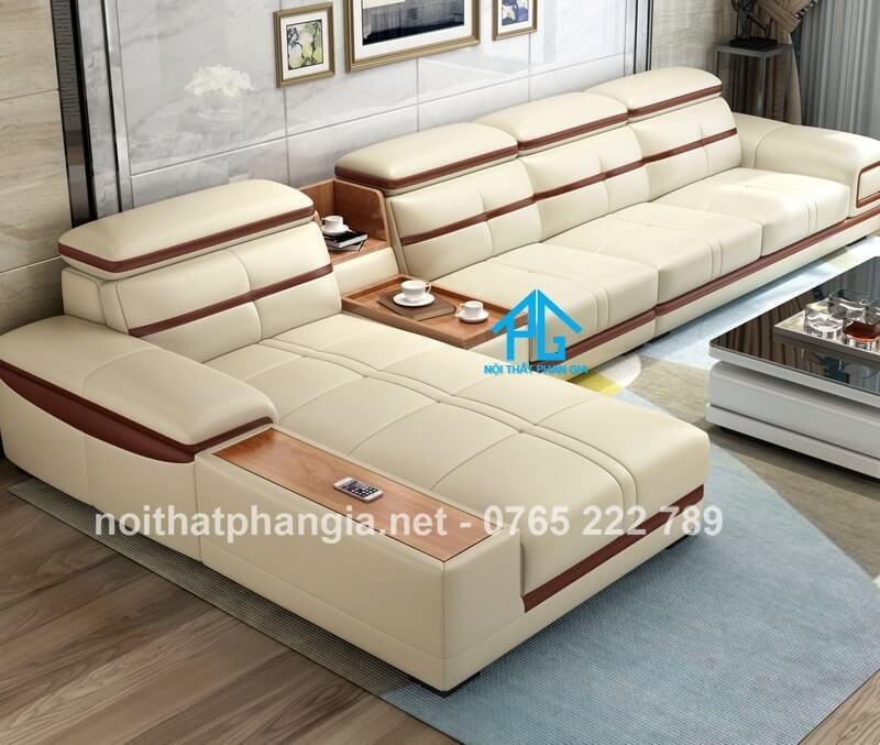 sofa da hiện đại E226 vàng đất