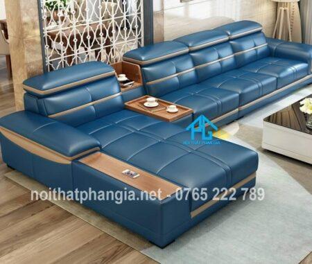 sofa da hiện đại E226 xanh