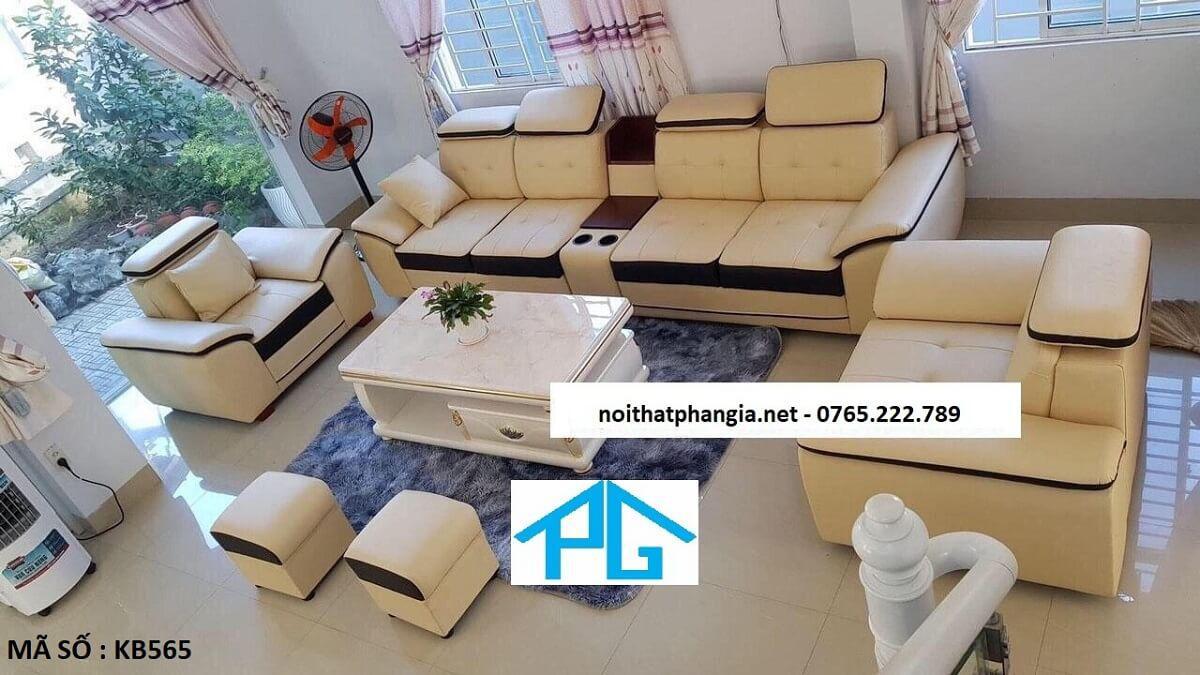 sofa da hiện đại phòng khách E10DE