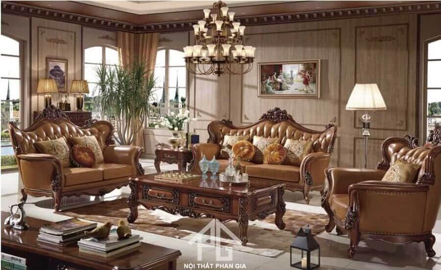 sofa tân cổ điển da bò nhập khẩu
