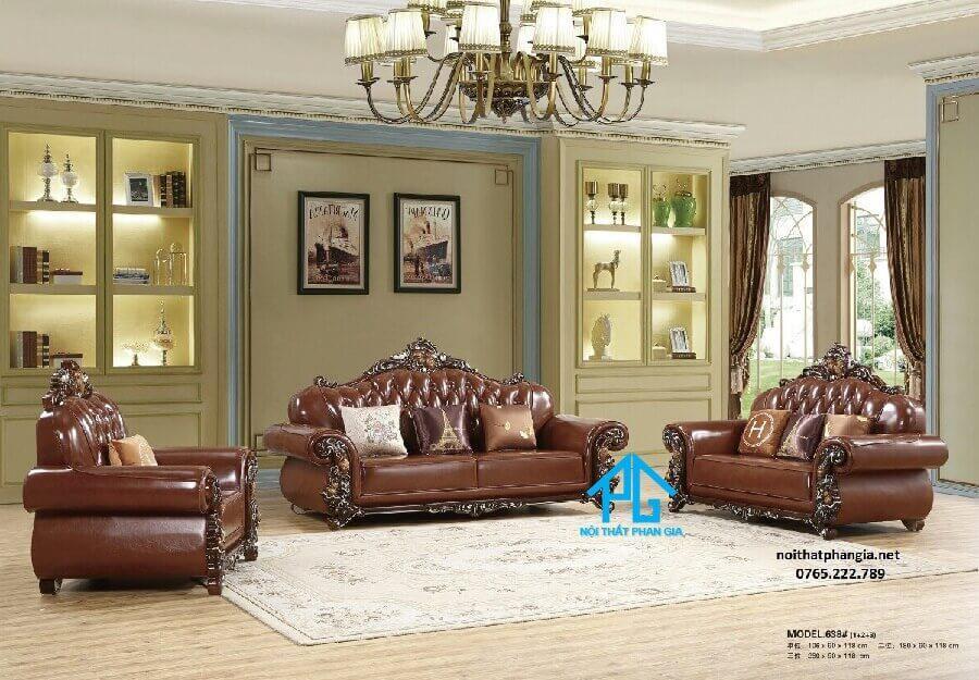 sofa tân cổ điển da thật