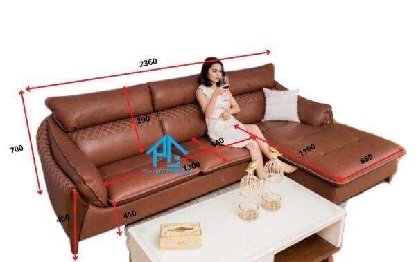 kích thước ghế sofa L 2 chỗ