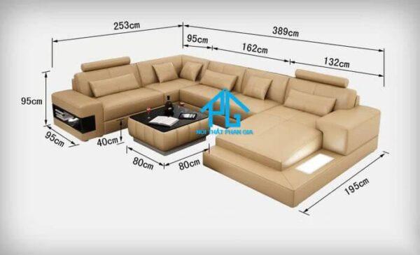 kích thước ghế sofa L lớn 3 chỗ