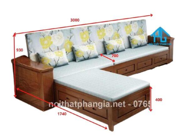 kích thước sofa gỗ L 3 chỗ