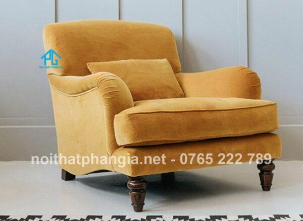 sofa đơn màu da bò