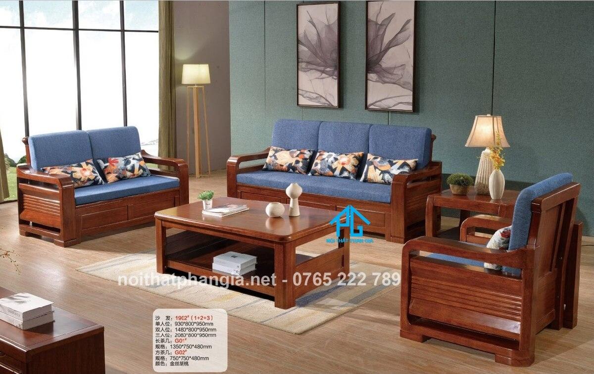 sofa gỗ malaysia nhập khẩu kb1902
