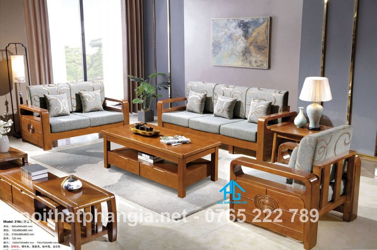 Sofa gỗ nệm nhập khẩu PG318