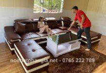 Sofa màu da bò cho phòng khách thêm đẳng cấp