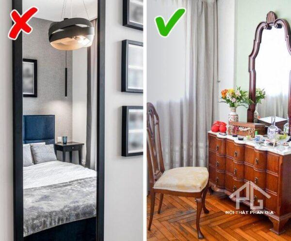 bố trí gương không đúng trong phòng ngủ
