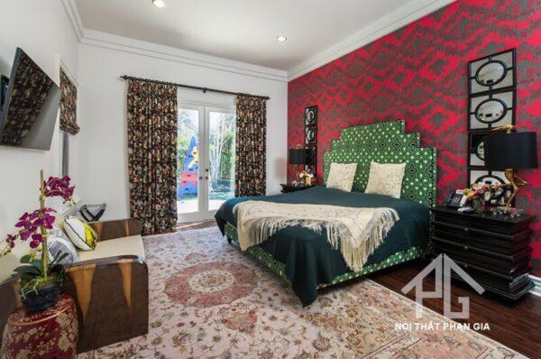 sử dụng nội thất phòng ngủ nhiều màu sắc