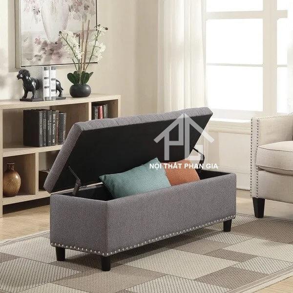 ghế đôn dài có hộp đựng đồ bằng vải