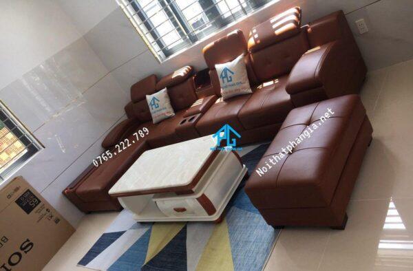 sofa da thật cho không gian nhỏ