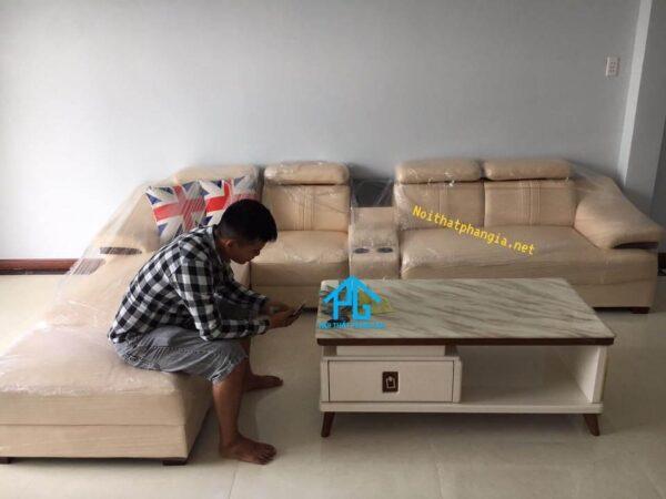 sofa da thật góc L