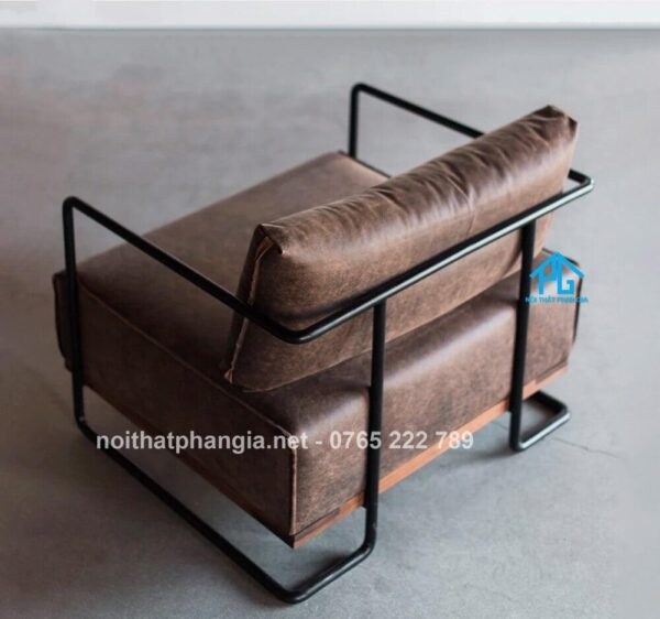 sofa da thật khung sắt