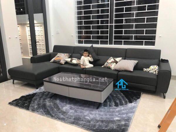 sofa da thật màu đen