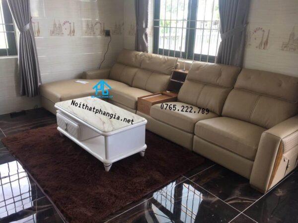 sofa da thật màu kem