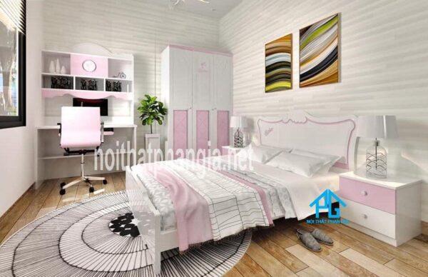 bộ giường tủ cho bé gái màu hồng