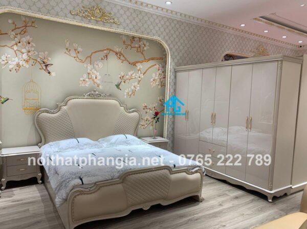 bộ giường tủ tân cổ điển màu trắng