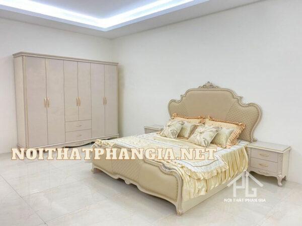 giường ngủ gỗ công nghiệp sơn màu trắng
